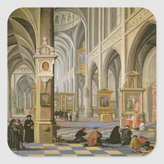 Church interior square sticker