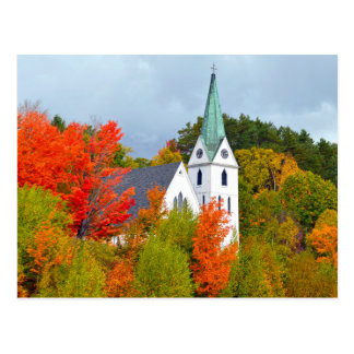 Church, Island Pond, Vermont, Autumn Postcard