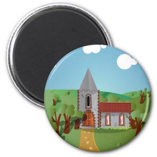 Church 2 Inch Round Magnet