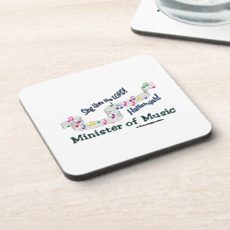 Church Minister of Music Notes Beverage Coaster