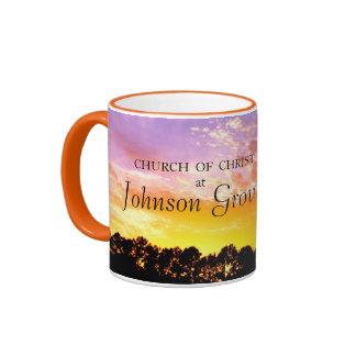 Church of Christ at Johnson Grove - Orange Sunset Ringer Coffee Mug