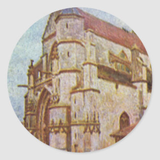 Church of Moret by Alfred Sisley Classic Round Sticker