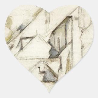 Church of Saint-Pierre in Avon by Paul Cezanne Heart Sticker