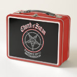 """Church of Satan Baphomet Lunch Box<br><div class=""""desc"""">This steel lunch box has the official symbol of the Church of Satan printed on the front and back. The Sigil of Baphomet is the official symbol of the Church of Satan and is offered here via RabidCrow by special arrangement. The Church of Satan is the central religious organization for...</div>"""