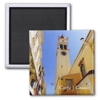 Church of St. Spyridon, Corfu, Greece 2 Inch Square Magnet