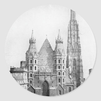 Church of St. Stephens, Vienna circa 1890 Classic Round Sticker