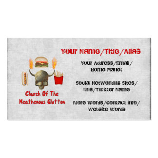 Church Of The Heathenous Glutton Double-Sided Standard Business Cards (Pack Of 100)