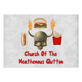 Church Of The Heathenous Glutton Large Business Cards (Pack Of 100)