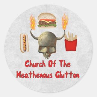 Church Of The Heathenous Glutton Classic Round Sticker