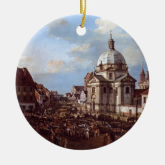 Church of the Holy Sacrament in the New Town Double-Sided Ceramic Round Christmas Ornament