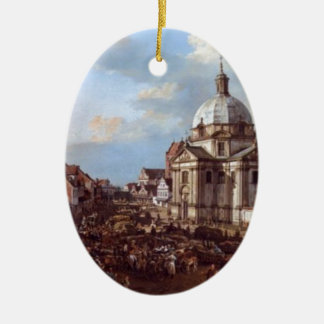 Church of the Holy Sacrament in the New Town Double-Sided Oval Ceramic Christmas Ornament