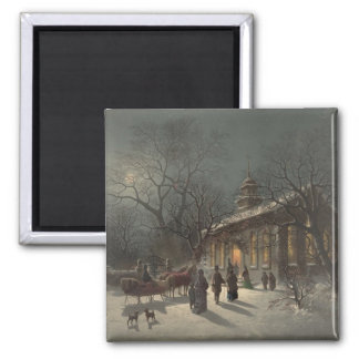 Church on Christmas Eve 2 Inch Square Magnet