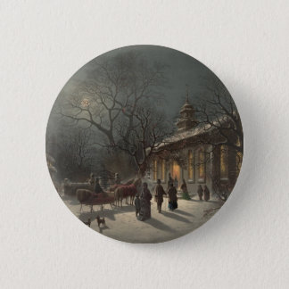 Church on Christmas Eve Pinback Button