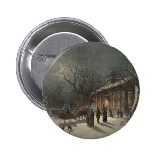 Church on Christmas Eve Pinback Button