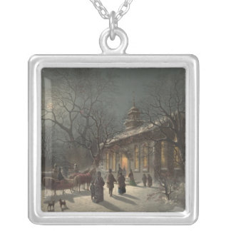 Church on Christmas Eve Square Pendant Necklace