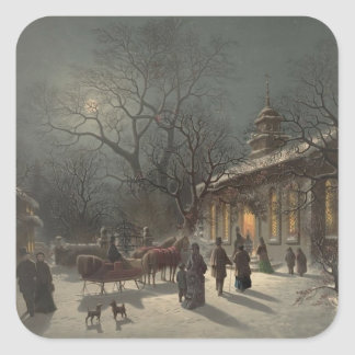 Church on Christmas Eve Square Sticker