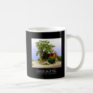 church on hill Kansas, Church on a hill text copy Coffee Mug