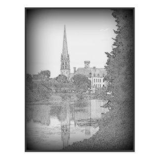 Church on the river postcard