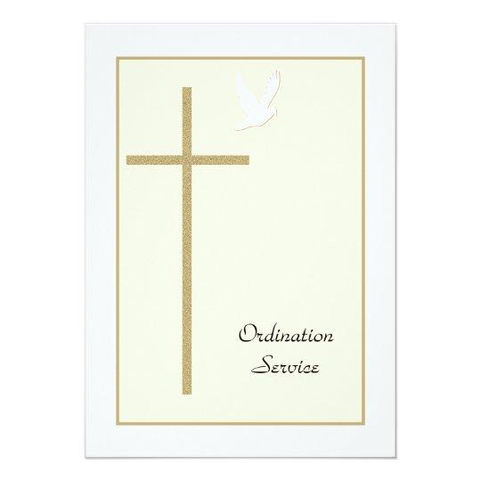 Church Ordination Invitation Cross Dove Zazzle Com