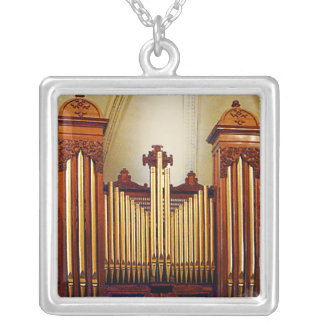 Church Organ Silver Plated Necklace