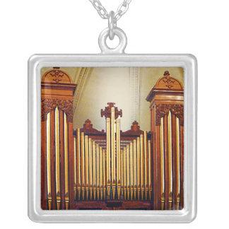 Church Organ Square Pendant Necklace