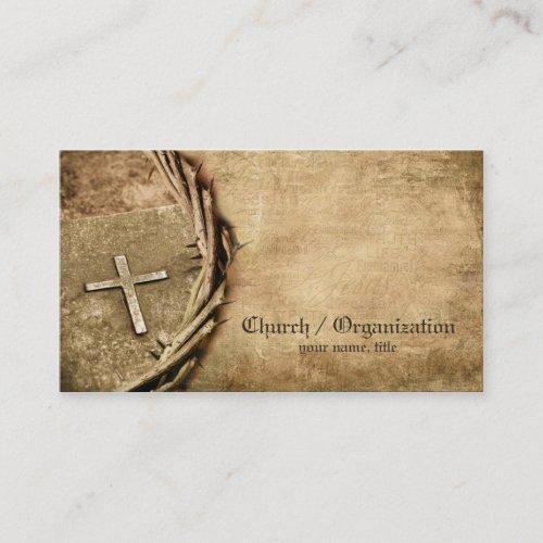 Church  Organization Aged Cross Business Card