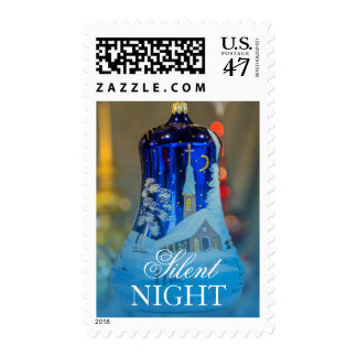 Church Painted blue glass Christmas ornament Stamp