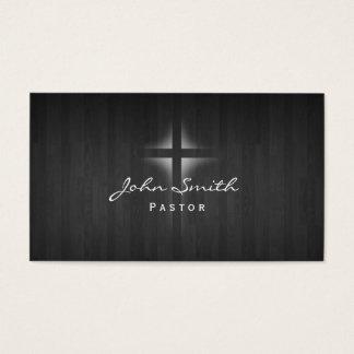 Church Pastor Elegant Dark Wood Background Business Card