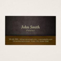 Church Pastor Elegant Leather & Wood Business Card at Zazzle