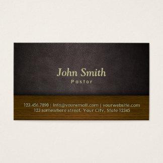 Church Pastor Elegant Leather & Wood Business Card