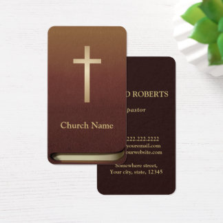 Church Pastor Minister Gold Cross Bible Book Business Card