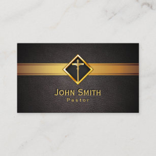 Pastor business cards templates zazzle church pastor minister gold cross elegant leather business card colourmoves