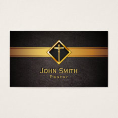 Church Pastor Minister Gold Cross Elegant Leather Business Card at Zazzle