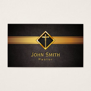Minister business cards templates zazzle church pastor minister gold cross elegant leather business card colourmoves