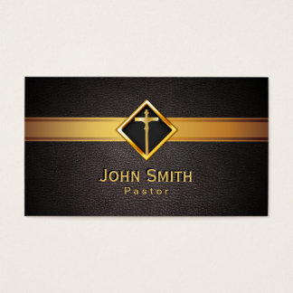 Church Pastor Minister Gold Cross Elegant Leather Business Card