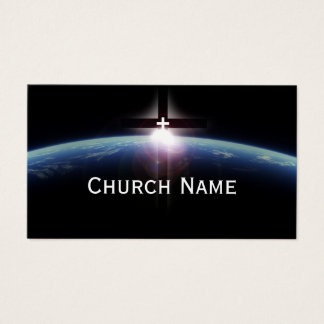 Church Pastor Space Holy Cross Light Business Card