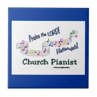 Church Pianist Colorful Notes Small Square Tile