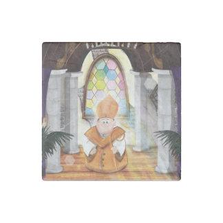 Church Priest in his Church. Stone Magnet