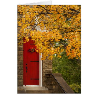 Church Red Door and Fall Leaves Card