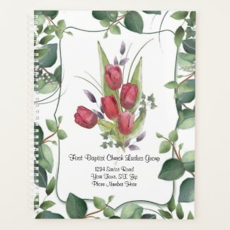Church Red Tulip Personalized Floral Fund Raising Planner
