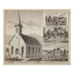 Church, residences & flouring mill poster