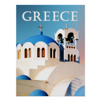Church Roof and Bell Tower Greece Poster