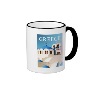 Church Roof and Bell Tower Greece Ringer Mug
