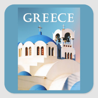 Church Roof and Bell Tower Greece Square Sticker