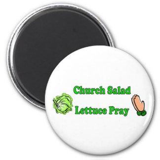 Church Salad, Lettuce Pray Refrigerator Magnet