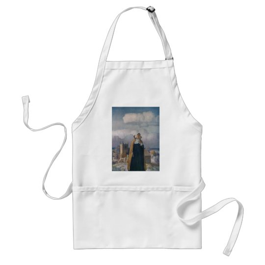 Church, Sheep and Lady in 16th Century Dress Adult Apron