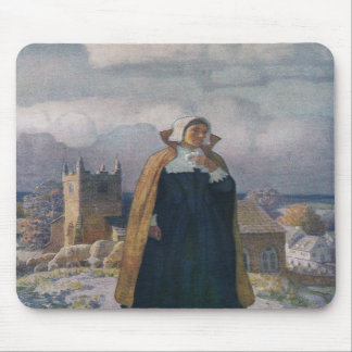 Church, Sheep and Lady in 16th Century Dress Mousepad