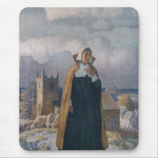 Church, Sheep and Lady in 16th Century Dress Mouse Pad