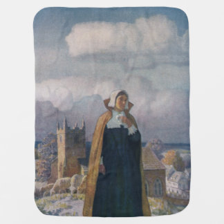 Church, Sheep and Lady in 16th Century Dress Receiving Blanket