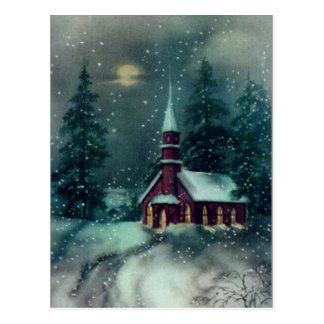 Church Snow Scene Vintage Art Postcard